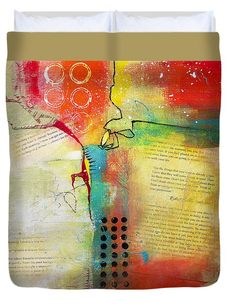 Duvet Cover featuring the painting Collage Art 5 by Patricia Lintner