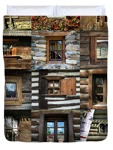 Collage From Handmade Traditional Wooden  Windows In Village Museum Bucharest Duvet Cover