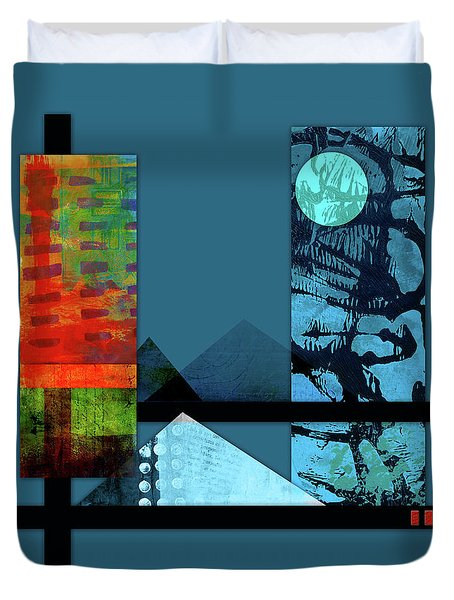 Duvet Cover featuring the mixed media Collage Landscape 1 by Patricia Lintner