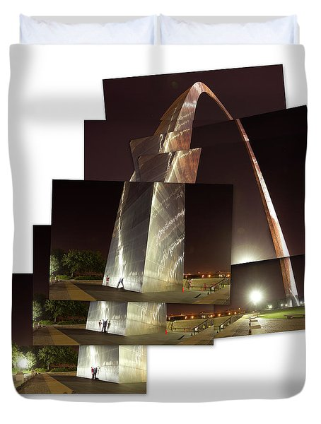 Collage Of Gateway Arch At Night Duvet Cover