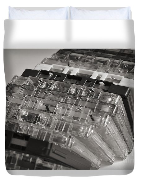 Collection Of Audio Cassettes With Domino Effect Duvet Cover