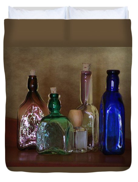Collection Of Vintage Bottles Photograph Duvet Cover