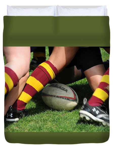 Collegiate Women's Rugby Duvet Cover