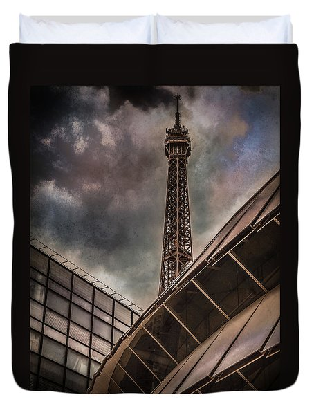 Paris, France - Colliding Grids Duvet Cover
