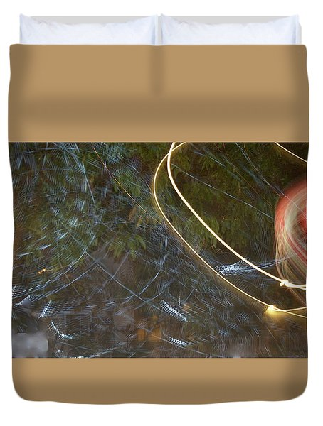 Duvet Cover featuring the pyrography Colliding Worlds  by Michael Lucarelli