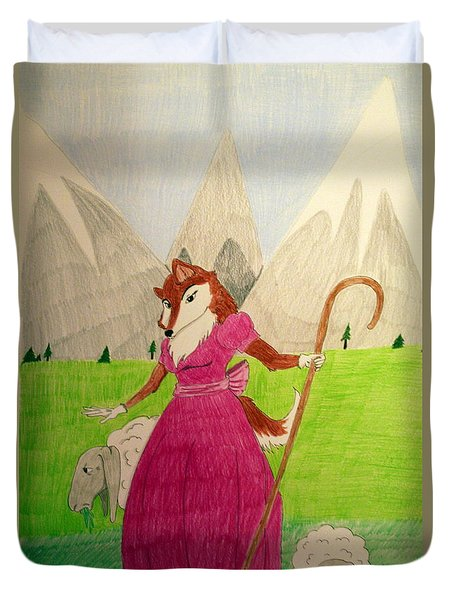 Collie Bo Peep Duvet Cover by Wendy Coulson