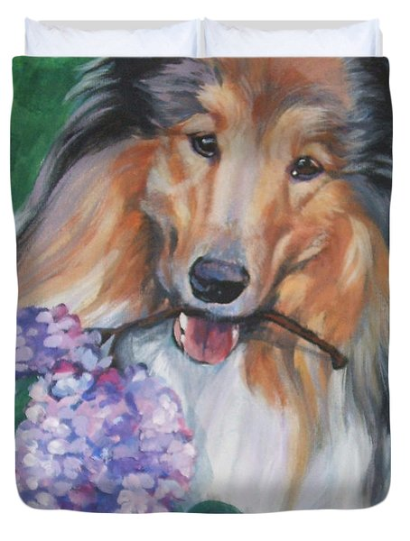 Collie With Lilacs Duvet Cover by Lee Ann Shepard