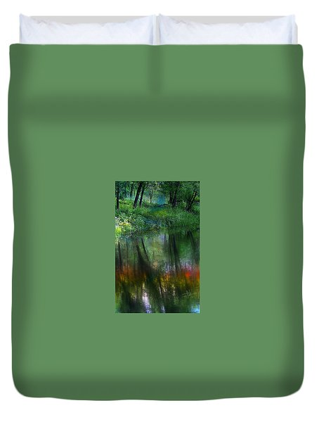 Duvet Cover featuring the photograph Collins Creek Reflections by Jim Vance