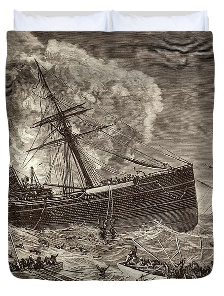 Collision And Sinking Of Spanish Duvet Cover