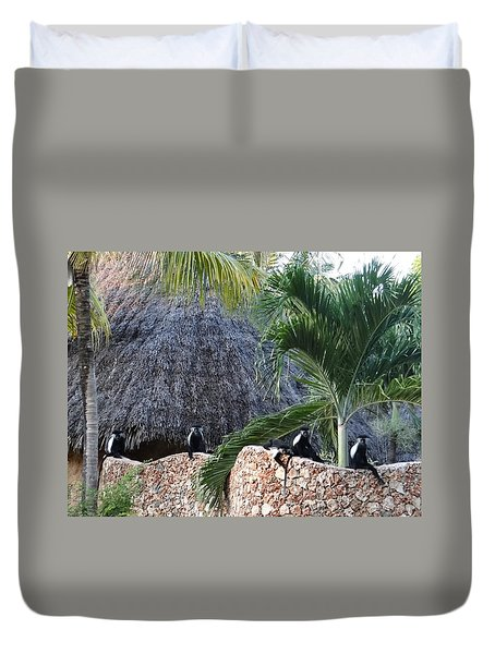 Colobus Monkey Resting On A Wall Duvet Cover
