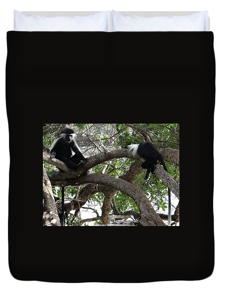 Colobus Monkeys Sitting In A Tree Duvet Cover