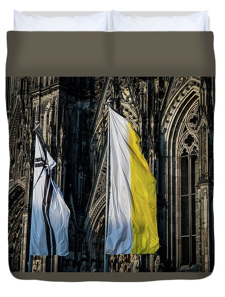 Cologne Cathedral Flags Duvet Cover