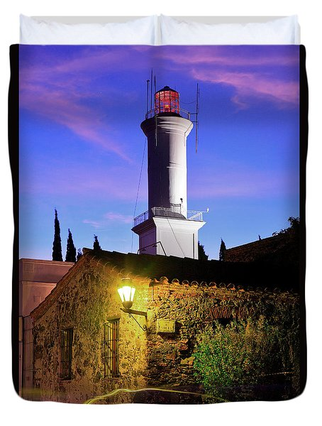 Duvet Cover featuring the photograph Colonia Lighthouse by Bernardo Galmarini