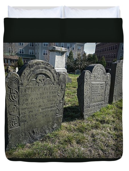 Duvet Cover featuring the photograph Colonial Graves At Phipps Street by Wayne Marshall Chase