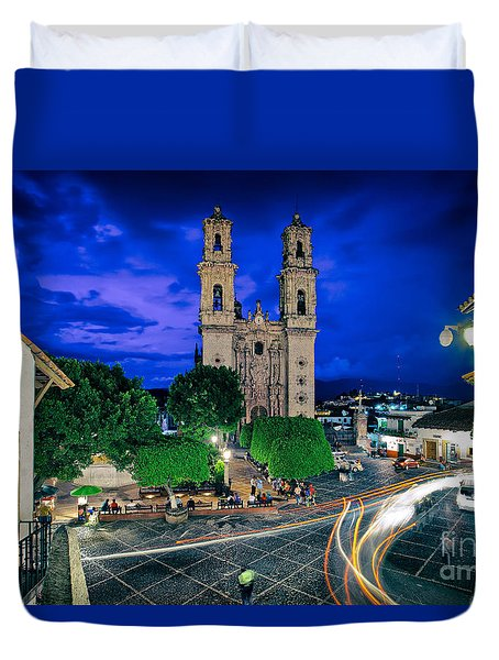 Colonial Town Of Taxco, Mexico Duvet Cover