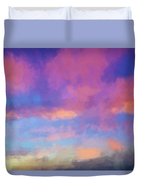 Duvet Cover featuring the digital art Color Abstraction Xlviii - Sunset by Dave Gordon