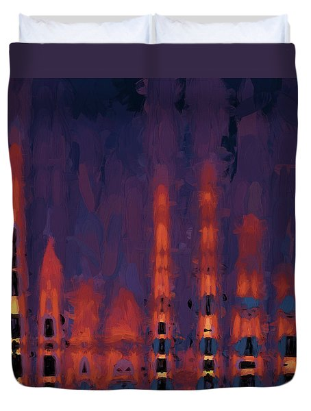 Duvet Cover featuring the digital art Color Abstraction Xxxviii by Dave Gordon