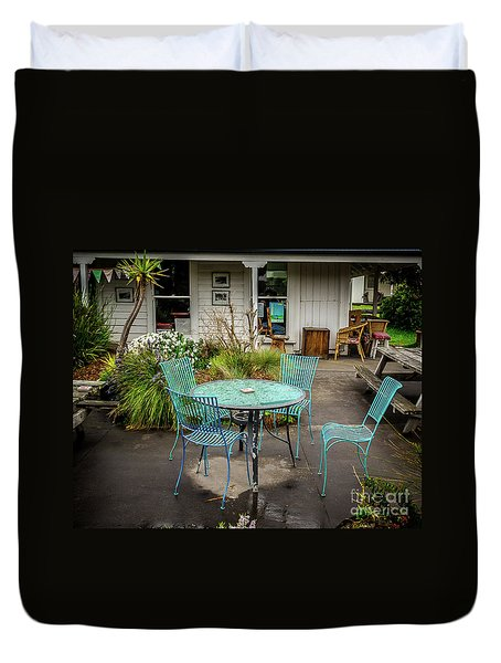 Duvet Cover featuring the photograph Color At Cafe by Perry Webster