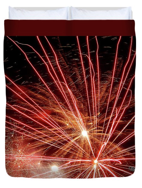 Duvet Cover featuring the photograph Color Blast Fireworks #0731 by Barbara Tristan