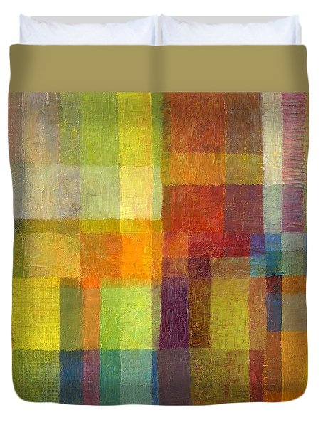 Duvet Cover featuring the painting Color Collage With Green And Red 2.0 by Michelle Calkins