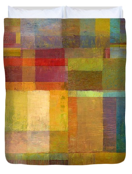 Duvet Cover featuring the painting Color Collage With Green And Red by Michelle Calkins