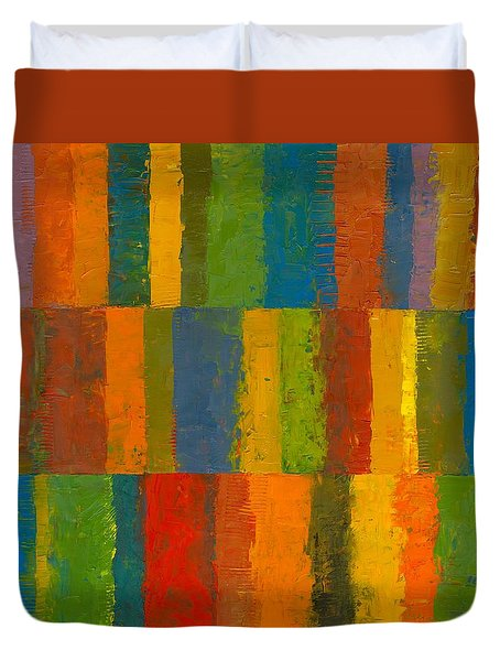 Color Collage With Stripes Duvet Cover by Michelle Calkins