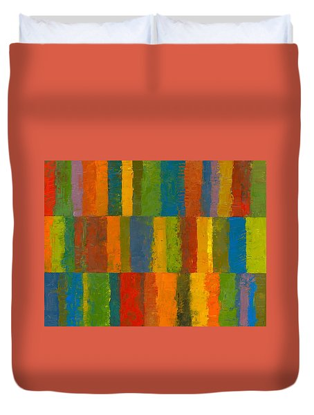 Duvet Cover featuring the painting Color Collage With Stripes by Michelle Calkins