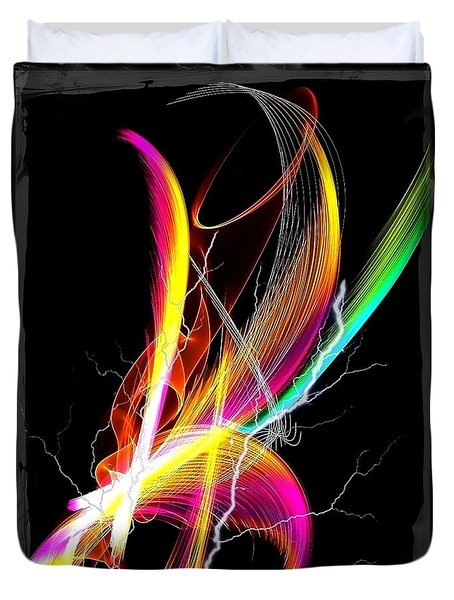 Duvet Cover featuring the digital art Color Palm By Nico Bielow by Nico Bielow