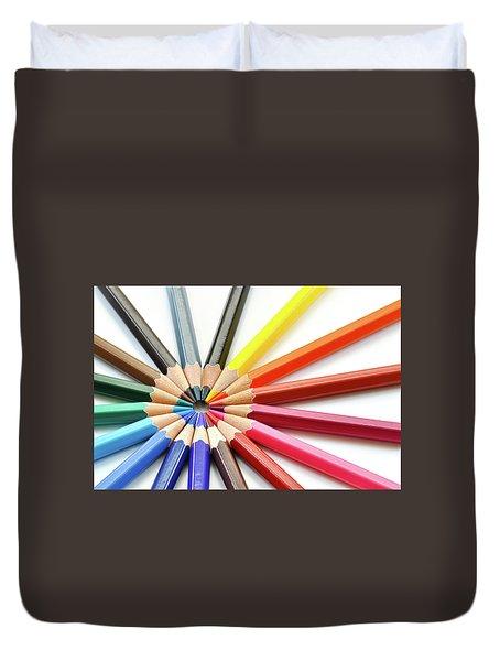 Color Pencils Duvet Cover