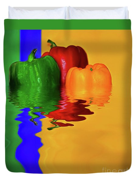 Duvet Cover featuring the photograph Color Pop Peppers By Kaye Menner by Kaye Menner