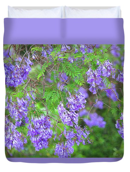 Duvet Cover featuring the photograph Color Purple - Jacaranda In Bloom by Ram Vasudev