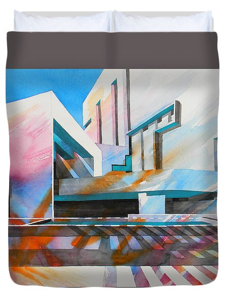 Duvet Cover featuring the painting Color Simphony by J- J- Espinoza