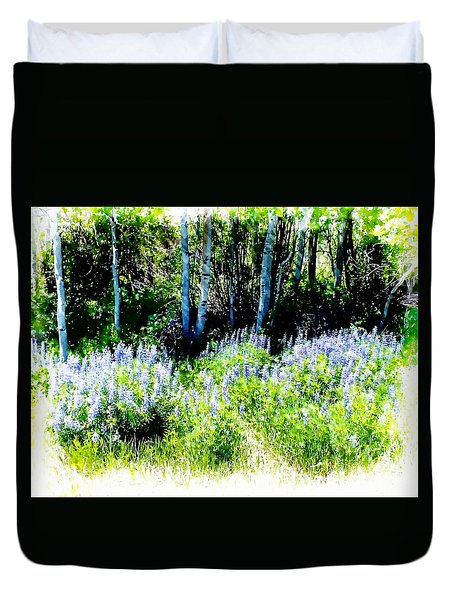 Colorado Apens And Flowers Duvet Cover by Joseph Hendrix