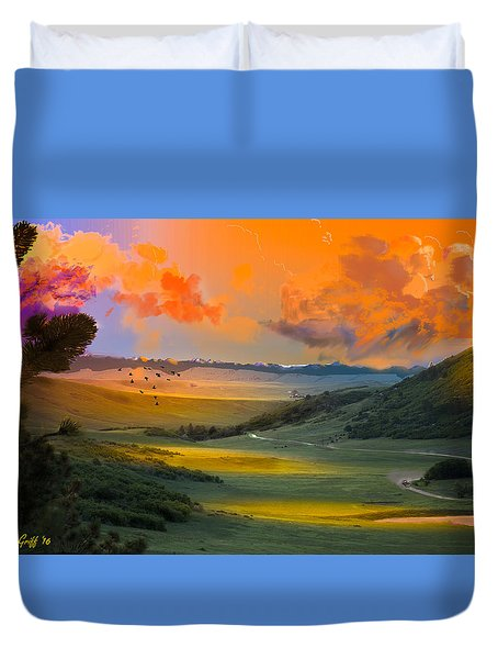 Colorado Big Valley Sunrise Duvet Cover by J Griff Griffin