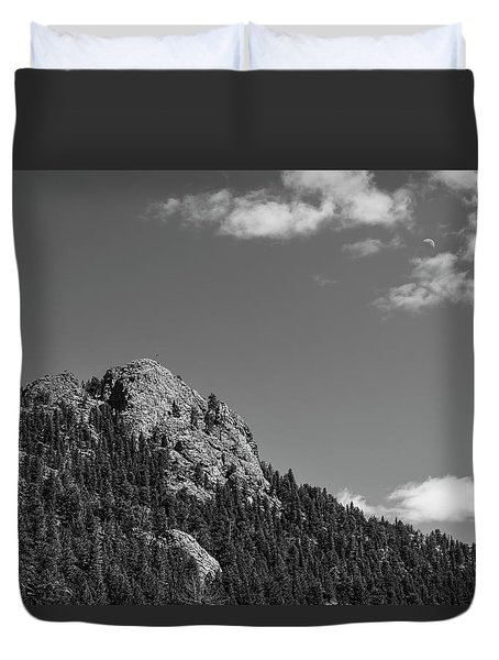 Duvet Cover featuring the photograph Colorado Buffalo Rock With Waxing Crescent Moon In Bw by James BO Insogna