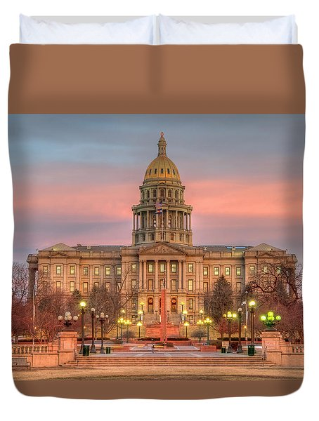 Duvet Cover featuring the photograph Colorado Capital by Gary Lengyel