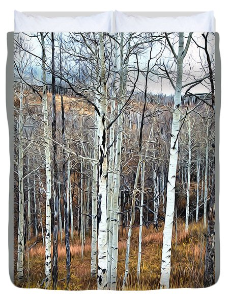 Colorado Fall Aspen Duvet Cover
