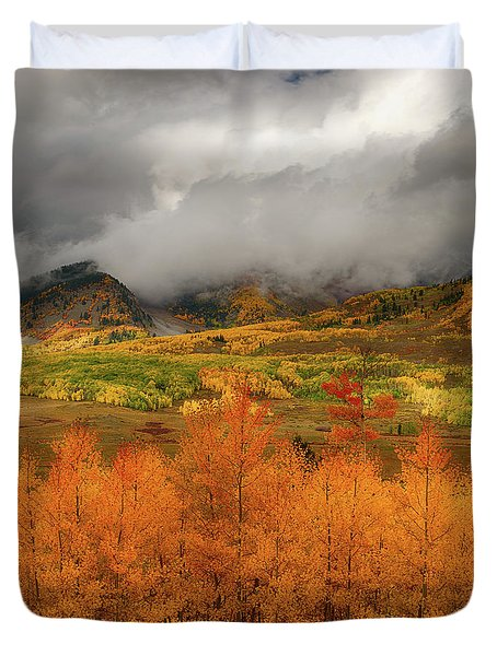 Duvet Cover featuring the digital art Colorado Fall Colors  by OLena Art Brand