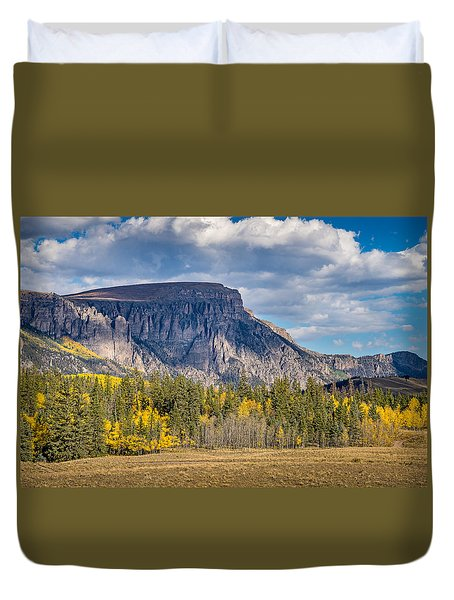 Colorado Fall Landscape With Aspen Trees Between Creede And Lake Duvet Cover