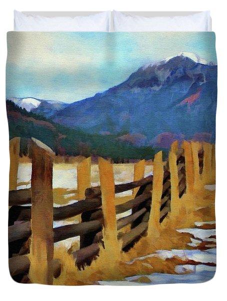 Colorado Fence Line  Duvet Cover by Jeff Kolker