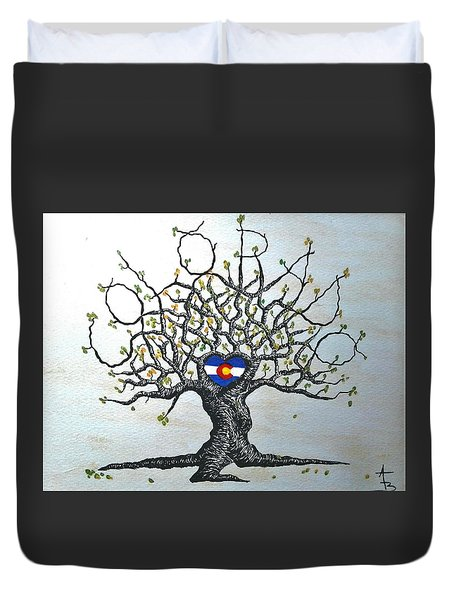 Duvet Cover featuring the drawing Colorado Flag Love Tree by Aaron Bombalicki