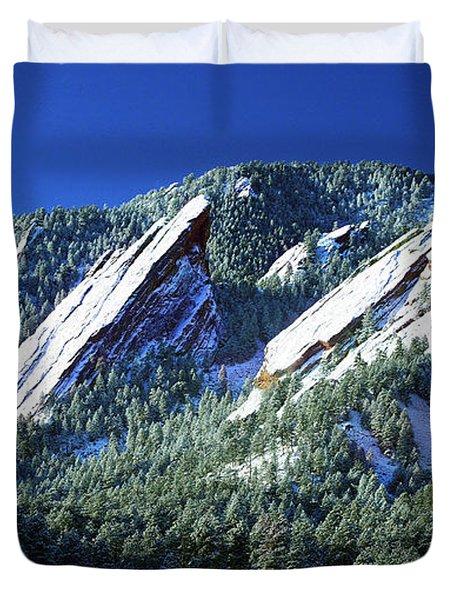All Five Colorado Flatirons Duvet Cover