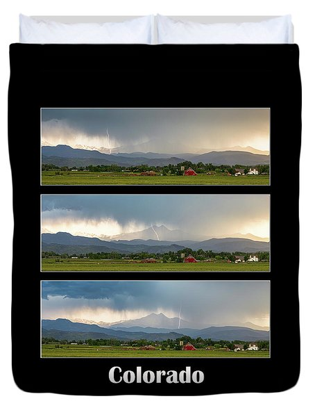 Duvet Cover featuring the photograph Colorado Front Range Longs Peak Lightning And Rain Poster by James BO Insogna