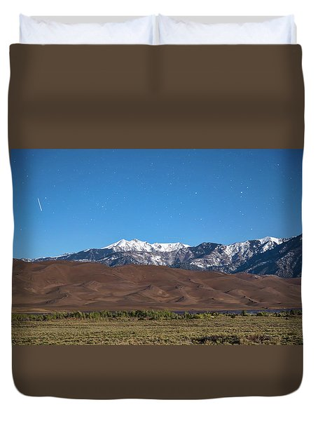 Colorado Great Sand Dunes With Falling Star Duvet Cover by James BO Insogna