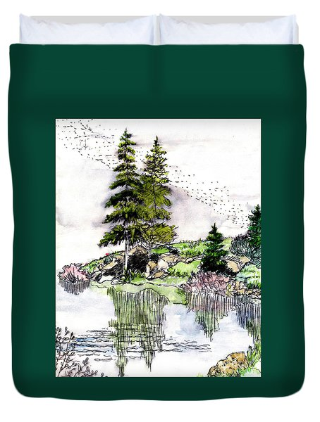 Colorado Lake Reflections Duvet Cover