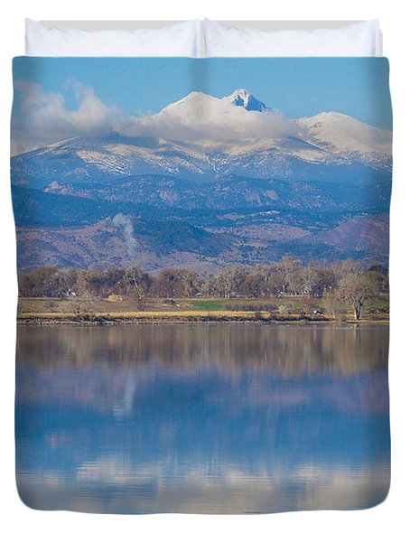 Colorado Longs Peak Circling Clouds Reflection Duvet Cover