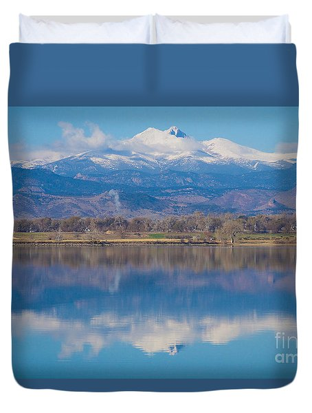 Colorado Longs Peak Circling Clouds Reflection Duvet Cover
