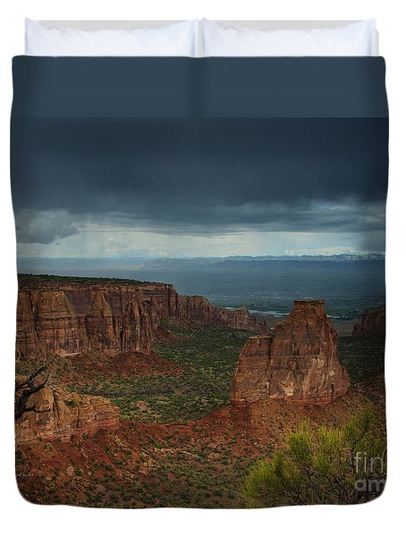Colorado National Monument Storm National Park Duvet Cover by Nature Scapes Fine Art