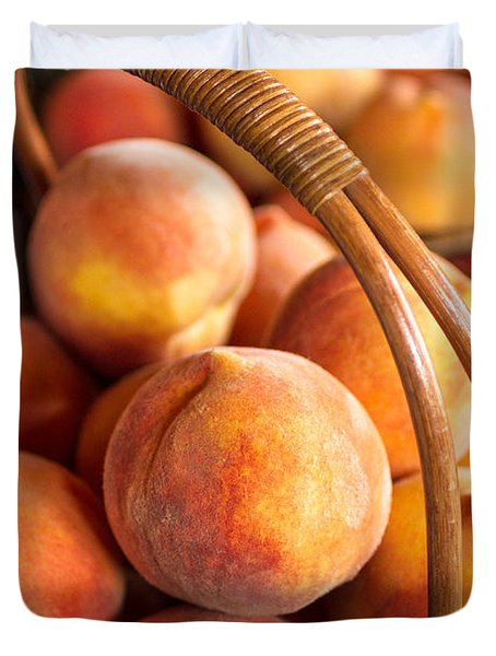 Colorado Peaches In Basket Duvet Cover