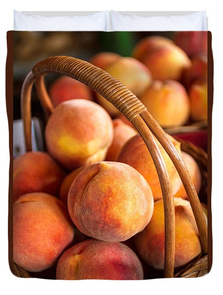 Colorado Peaches In Basket Duvet Cover